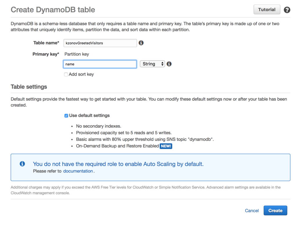 create amazon dynamodb table