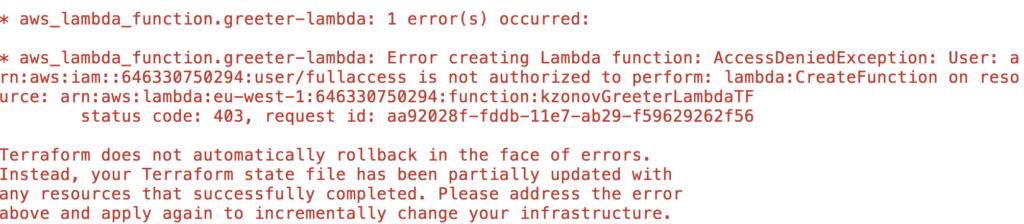 No permissions aws lambda error